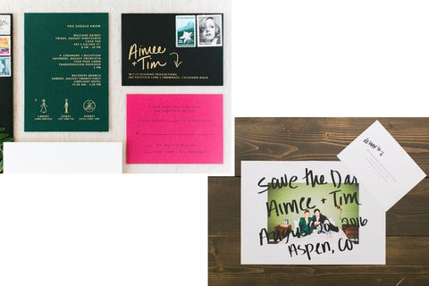 "<p><span>The couple's </span><a href=""http://www.helloposte.com/"" target=""_blank"" data-tracking-id=""recirc-text-link"">Poste &amp; Co</a><span>. invites&nbsp;were a cool complement&nbsp;to their wedding's&nbsp;white, brass, forest green, and hot pink color palette.</span></p><p>          </p>"