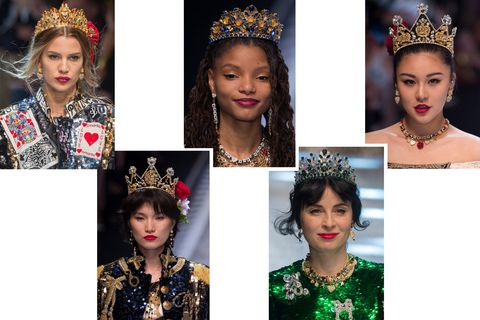<p>At Dolce &amp; Gabbana, crowns reign supreme. Though there is almost always some sort of head piece on the runways, these five gilded versions&nbsp;are fresh off&nbsp;the fall 2017 runway show.</p>