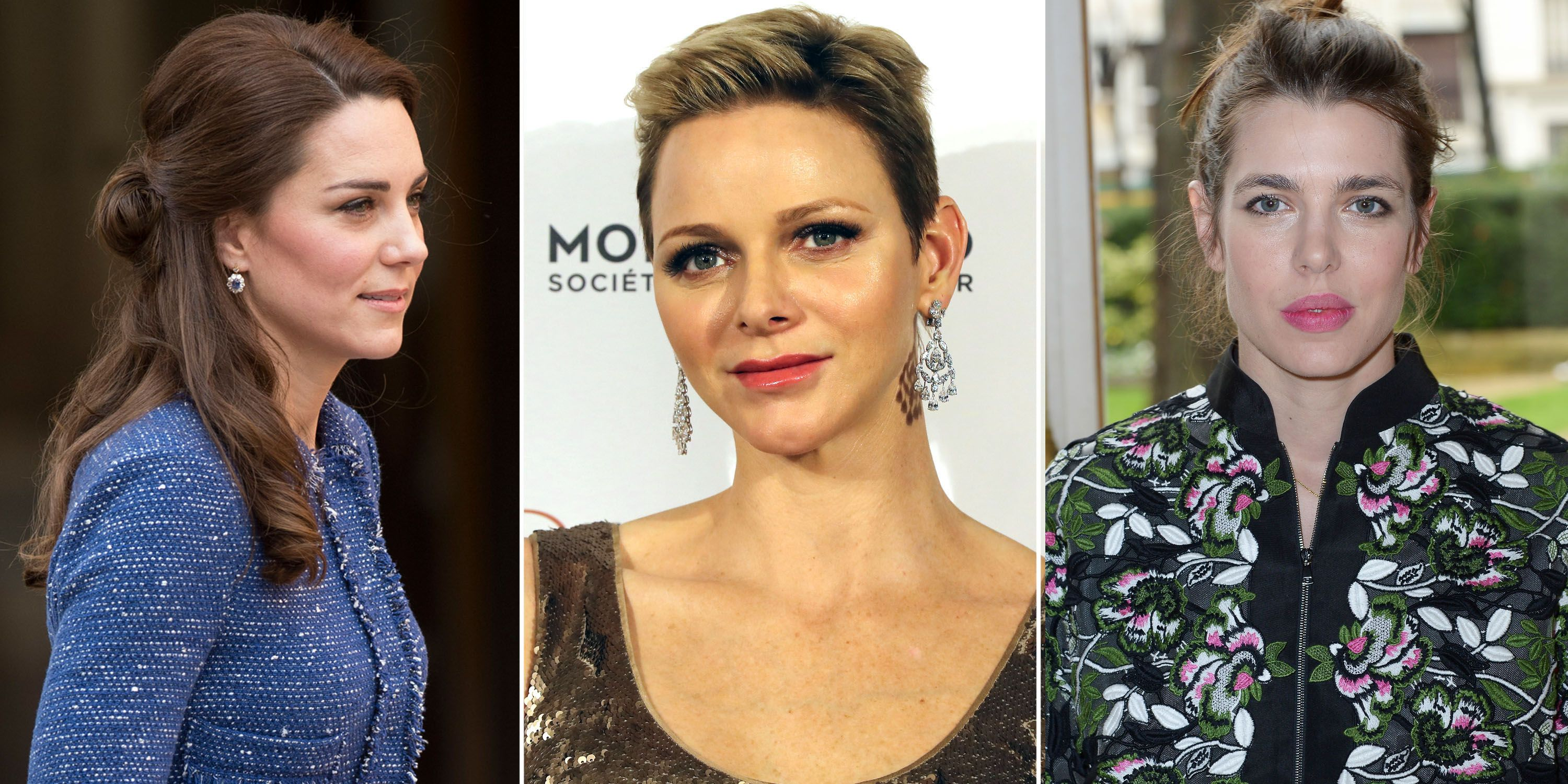 <p>Though movies and fairytales would have you believe that princesses walk around in full gowns and tiaras 24/7—that's obviously not the case. Here, the Duchess of Cambridge, Princess Charlene of Monaco, and Princess Charlotte of Monaco show off what royal beauty looks like in the day-to-day.</p>
