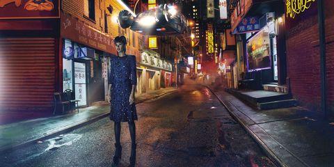 Night, Street, Light, Town, Urban area, Sky, Human settlement, Snapshot, Atmosphere, City,