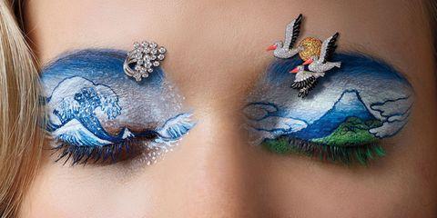 Blue, Wing, Eye, Eyelash, Feather, Fashion accessory, Neck, Jewellery,