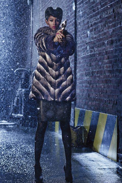 Winter, Street fashion, Fur, Boot, Brick, Painting, Brickwork, Fur clothing, Animal product,