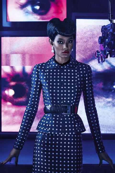 Fashion, Purple, Electric blue, Pattern, Design, Dress, Lip, Fashion model, Polka dot, Performance,