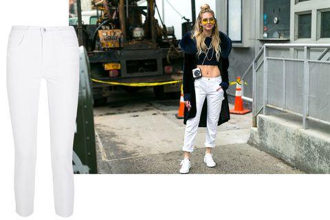 White, Clothing, Street fashion, Jeans, Fashion, Denim, Trousers, Sportswear, sweatpant, Footwear,