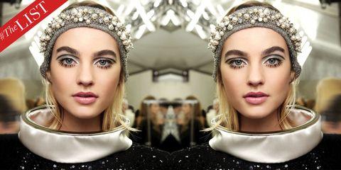 Face, Headpiece, Hair, Eyebrow, Lip, Skin, Head, Beauty, Hair accessory, Chin,