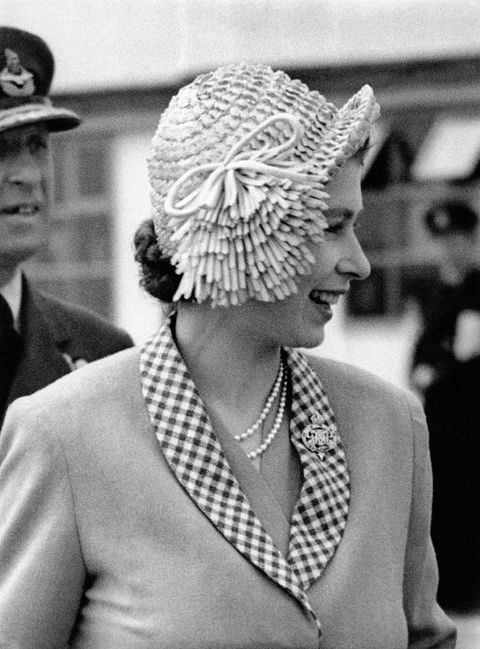 "<p>In 1949, the then-Princess&nbsp&#x3B;wore an, ahem, interesting,&nbsp&#x3B;cloche hat with a side-swept fringe detail&nbsp&#x3B;while being escorted&nbsp&#x3B;by her <a href=""http://www.housebeautiful.com/lifestyle/g2879/queen-elizabeth-and-prince-philip-through-the-years/"" target=""_blank"" data-tracking-id=""recirc-text-link"">husband, the Duke of Edinburgh</a>,&nbsp&#x3B;from an airport in London.</p>"