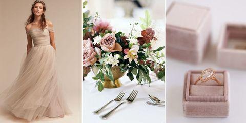 Pink, Dress, Flower, Bouquet, Peach, Plant, Gown, Floristry, Wedding dress, Rose,