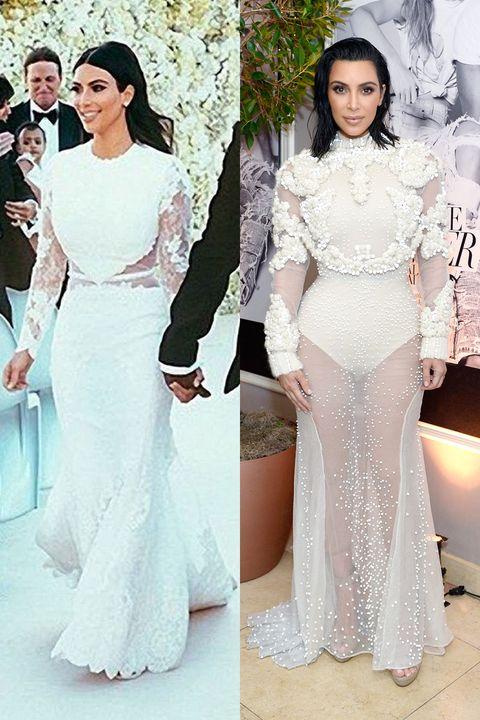 Kim kardashian wears risque upgrade to wedding dress kim kim kardashian instagram getty junglespirit Image collections
