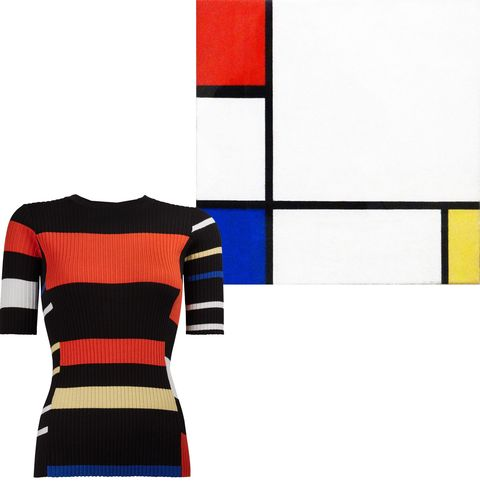 "<p>Keep it primary with Mondrian's color palette.&nbsp;</p><p><em data-verified=""redactor"" data-redactor-tag=""em"">Proenza Schouler top, $545, <a href=""https://shop.harpersbazaar.com/designers/proenza-schouler/crewneck-in-blackorangeelectric-blue-13593.html"" data-tracking-id=""recirc-text-link"">ShopBAZAAR.com</a>.&nbsp;</em><br></p>"
