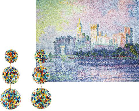 "<p>Channel Paul Signac's dreamy pointillism<span class=""redactor-invisible-space""> with beaded baubles. </span></p><p><span class=""redactor-invisible-space""><em data-verified=""redactor"" data-redactor-tag=""em"">Rebecca de Ravenel earrings, $425, <a href=""https://shop.harpersbazaar.com/designers/rebecca-de-ravenel/gaya-earrings-12765.html"" data-tracking-id=""recirc-text-link"">ShopBAZAAR.com</a>. </em><br></span></p>"