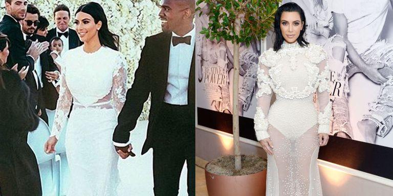 Kim kardashian wears risque upgrade to wedding dress kim kim kardashian instagram getty junglespirit Images