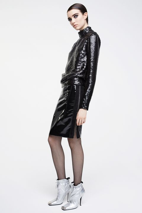 Clothing, Fashion model, Leather, Jacket, Fashion, Shoulder, Dress, Leather jacket, Coat, Outerwear,