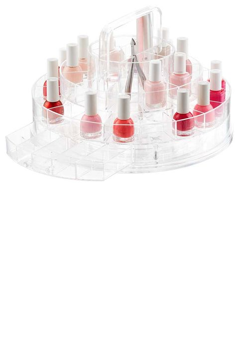 "<p>DIY manicurists, rejoice! This cute little caddy neatly displays 30 polishes, plus it's equipped with two drawers and tool compartments for salon-level organization at home. Oh, and did we mention it spins?</p><p><strong data-redactor-tag=""strong"" data-verified=""redactor"">The Container Store</strong> Clearly Chic Nail Boutique, $40, <a href=""https://www.containerstore.com/s/bath/makeup-organizers/clearly-chic-nail-boutique/12d?productId=11003530"" target=""_blank"" data-tracking-id=""recirc-text-link"">thecontainerstore.com</a>.</p>"