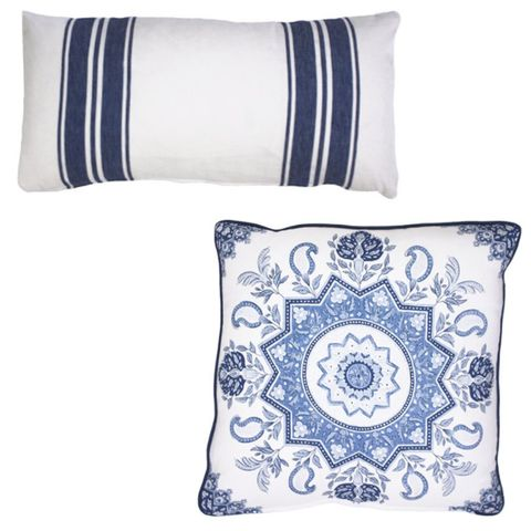 Blue, Product, Textile, White, Cushion, Pattern, Linens, Throw pillow, Home accessories, Pillow,