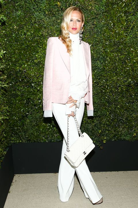 White, Clothing, Fashion, Pantsuit, Outerwear, Blazer, Suit, Fashion model, Street fashion, Pink,