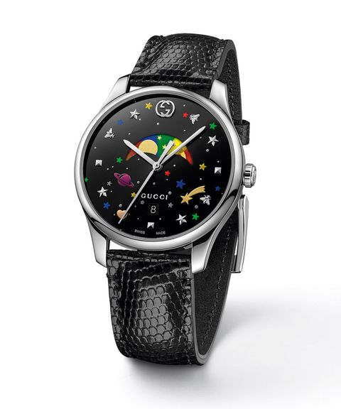 83efaf20fd2 Gucci G-Timeless with black lacquered effect dial with multicolor stars and  planets motif on a black lizard strap