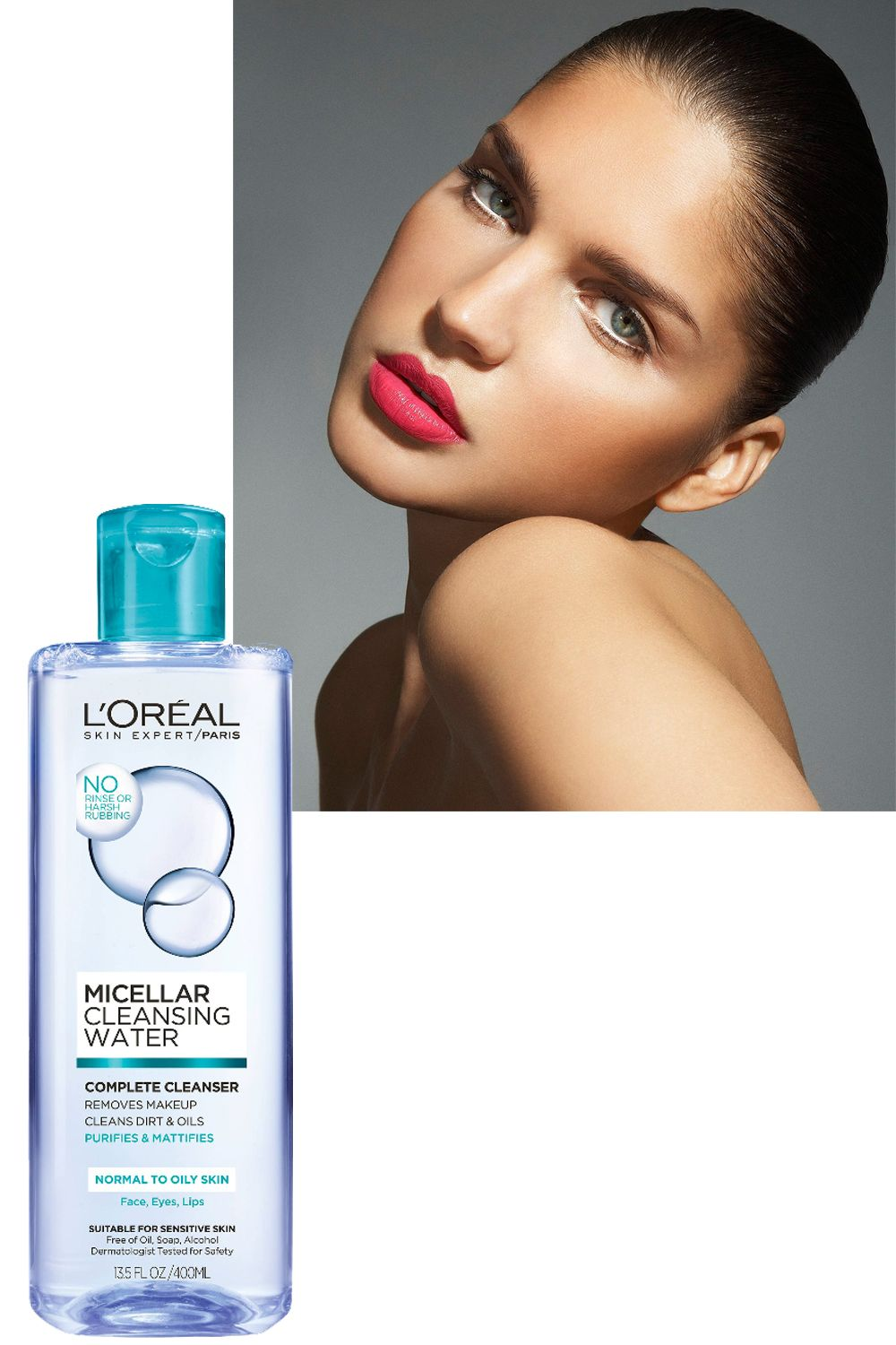 """<p>Micellar water—a&nbsp&#x3B;soap-free, no-rinse&nbsp&#x3B;facial cleanser—contains micelles,&nbsp&#x3B;molecules that dissolve makeup,&nbsp&#x3B;dirt, and other grime. Even stubborn&nbsp&#x3B;mascara breaks down in a&nbsp&#x3B;flash. We like <a href=""""http://www.lorealparisusa.com/products/skin-care/products/facial-cleansers/micellar-cleansing-water-complete-cleanser-waterproof-all-skin-types.aspx?shade=Complete-Cleanser-Waterproof-All-Skin-Types"""" target=""""_blank"""" data-tracking-id=""""recirc-text-link"""">L'Oréal Paris Micellar&nbsp&#x3B;Cleansing Water</a> ($10).</p>"""