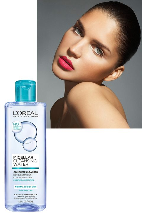 "<p>Micellar water—a&nbsp;soap-free, no-rinse&nbsp;facial cleanser—contains micelles,&nbsp;molecules that dissolve makeup,&nbsp;dirt, and other grime. Even stubborn&nbsp;mascara breaks down in a&nbsp;flash. We like <a href=""http://www.lorealparisusa.com/products/skin-care/products/facial-cleansers/micellar-cleansing-water-complete-cleanser-waterproof-all-skin-types.aspx?shade=Complete-Cleanser-Waterproof-All-Skin-Types"" target=""_blank"" data-tracking-id=""recirc-text-link"">L'Oréal Paris Micellar&nbsp;Cleansing Water</a> ($10).</p>"