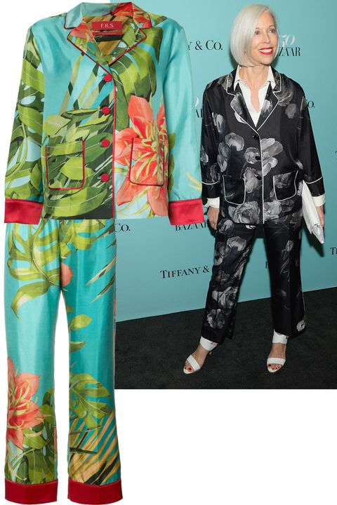 "<p>Linda Fargo dresses up this updated silk suit with a layered contrast blouse. </p><p><em data-verified=""redactor"" data-redactor-tag=""em"">For Restless Sleepers shirt, $590, <a href=""https://shop.harpersbazaar.com/designers/for-restless-sleepers/fern-printed-silk-shirt-13977.html"" data-tracking-id=""recirc-text-link"">ShopBAZAAR.com</a>; For Restless Sleepers pants, $470, <a href=""https://shop.harpersbazaar.com/designers/for-restless-sleepers/tropical-print-silk-trousers-13976.html"" data-tracking-id=""recirc-text-link"">ShopBAZAAR.com</a>. </em><br></p>"