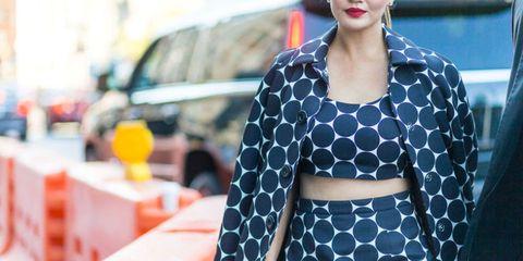 Clothing, Street fashion, Polka dot, Fashion, Pattern, Crop top, Outerwear, Eyewear, Design, Lip,