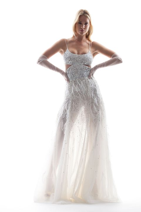 Gown, Clothing, Dress, Fashion model, Shoulder, Wedding dress, Bridal party dress, Strapless dress, Formal wear, A-line,