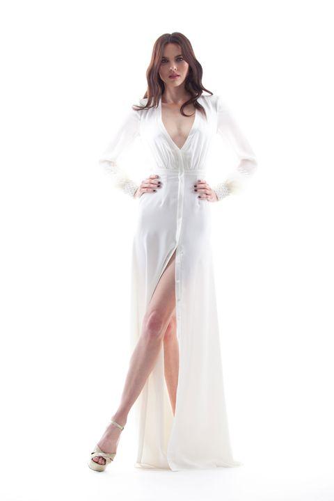 Clothing, White, Dress, Gown, Fashion model, Pink, Fashion, Formal wear, Outerwear, Shoulder,
