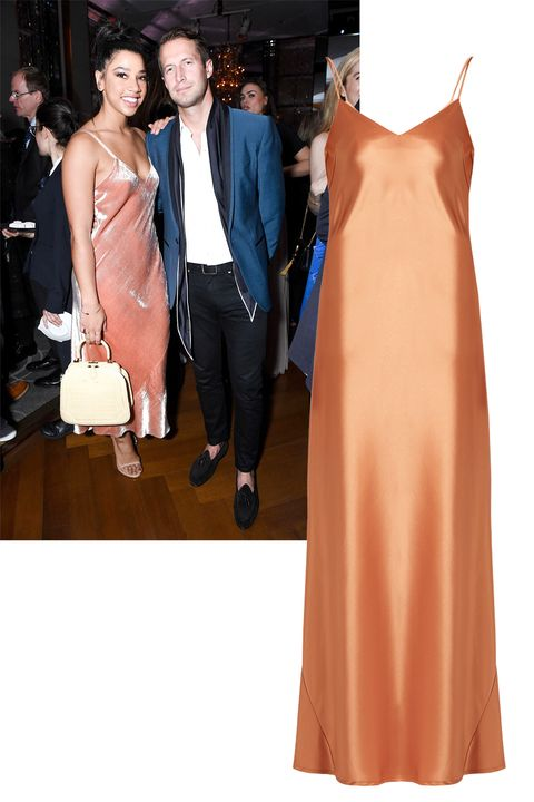 <p>Simple yet effective: Hannah Bronfman's classic slip dress in a soft, feminine color is sure to turn heads. </p>