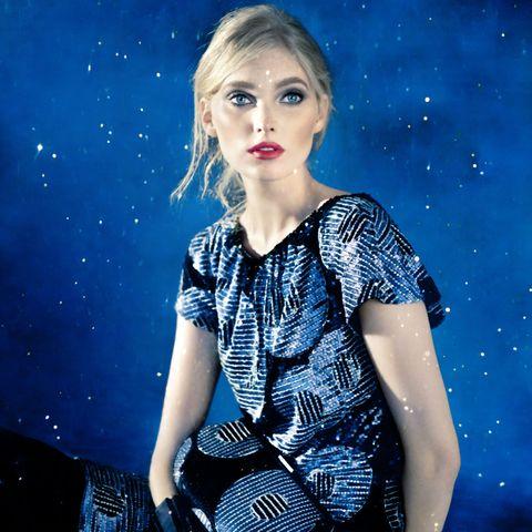 Blue, Mouth, Dress, Electric blue, Space, Day dress, Eyelash, Fashion model, Street fashion, Blond,