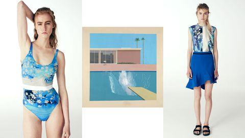 Blue, Shoulder, Style, Waist, Electric blue, Swimwear, Aqua, One-piece swimsuit, Fashion, Knee,