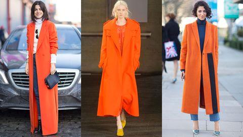 Face, Automotive design, Sleeve, Orange, Coat, Outerwear, Formal wear, Style, Collar, Street fashion,