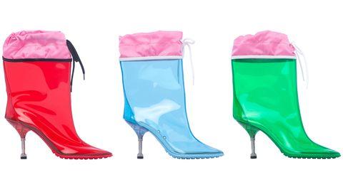 Product, Pink, Magenta, Aqua, Boot, Costume accessory, Paint, Teal, High heels, Plastic,