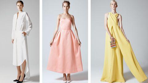 Clothing, Sleeve, Dress, Shoulder, Textile, Joint, Standing, Formal wear, Pattern, Pink,