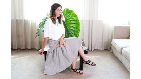 Clothing, Textile, Style, Floor, Interior design, Flooring, Fashion accessory, Waist, Sandal, Street fashion,
