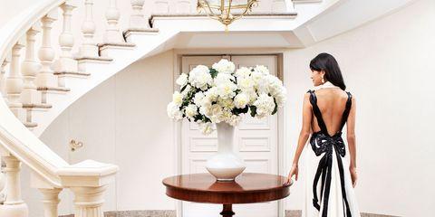 Clothing, Dress, White, Petal, Style, Interior design, Formal wear, Light fixture, Gown, Wedding dress,