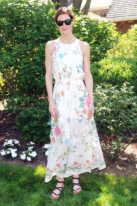 Clothing, Green, Sunglasses, Dress, Textile, Shrub, Garden, Pattern, Day dress, One-piece garment,