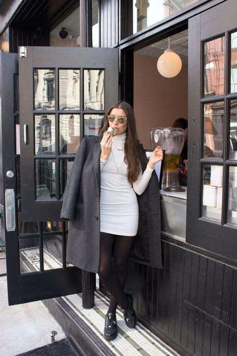 Sleeve, Standing, Outerwear, Coat, Style, Street fashion, Fashion, Dress, Knee, Boot,