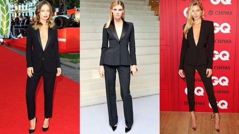 Clothing, Collar, Coat, Red, Outerwear, Formal wear, Style, Blazer, Flooring, Fashion,
