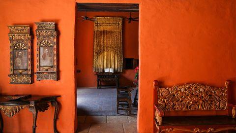 Wood, Room, Interior design, Amber, Orange, Hardwood, Couch, Interior design, Classic, Wood stain,