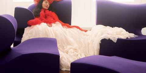 Room, Interior design, Textile, Purple, Linens, Bedroom, Bed sheet, Bedding, Dress, Costume accessory,