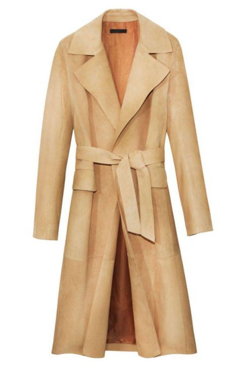 Clothing, Coat, Brown, Collar, Sleeve, Textile, Khaki, Outerwear, Standing, Formal wear,