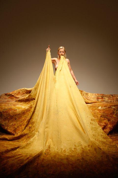 Dress, Formal wear, Gown, Wedding dress, Costume design, Haute couture, Embellishment, Bride, Bridal clothing, Fashion design,