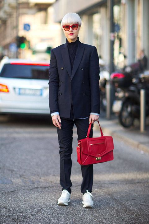 Clothing, Collar, Trousers, Coat, Textile, Photograph, Outerwear, White, Red, Bag,