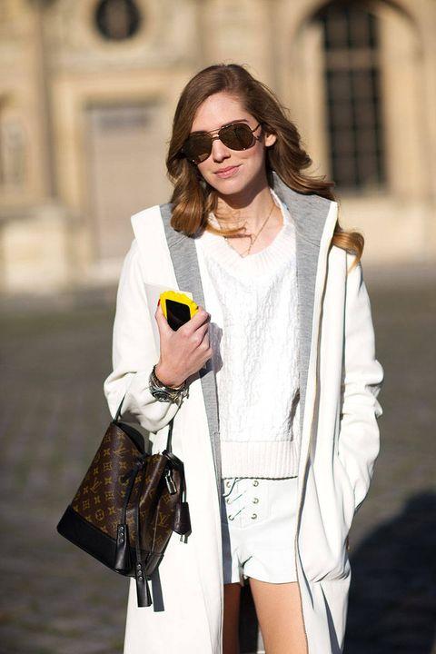 Clothing, Eyewear, Sleeve, Sunglasses, Outerwear, White, Coat, Style, Street fashion, Goggles,