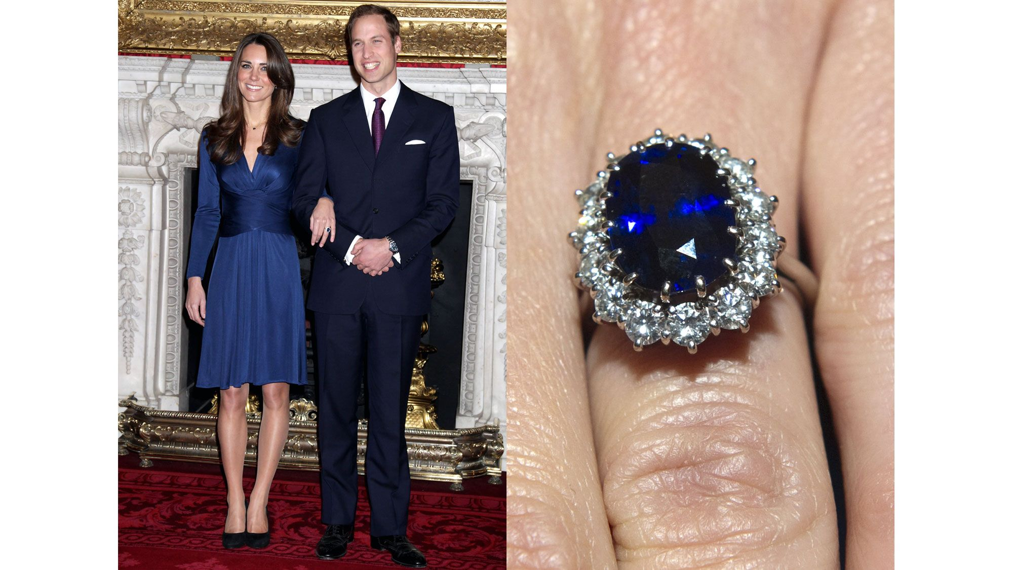 rings fashion pear main to middleton has kate her sapphire story blue a match new engagement set jewelry shaped