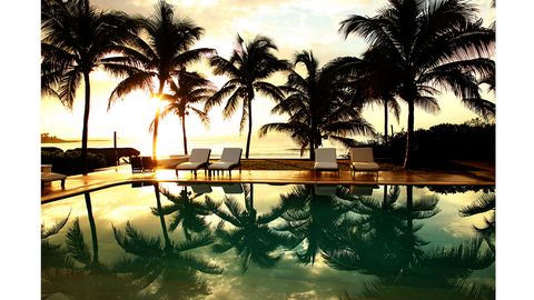 Resort, Reflection, Arecales, Woody plant, Swimming pool, Tropics, Outdoor furniture, Palm tree, Hotel, Resort town,