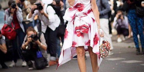 Clothing, Footwear, Leg, Outerwear, Human leg, Dress, Style, Flag, Bag, Street fashion,