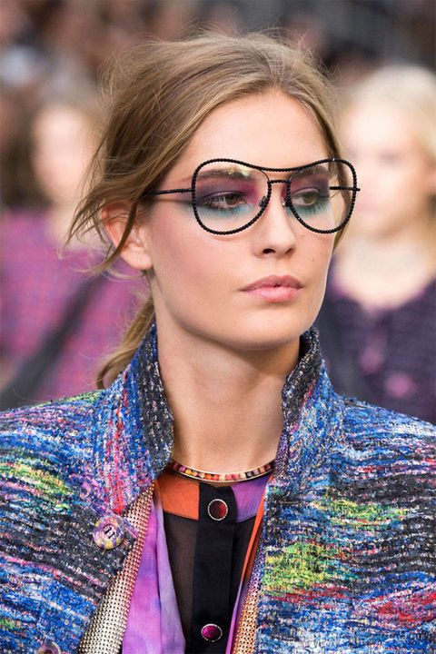 Clothing, Eyewear, Glasses, Vision care, Lip, Hairstyle, Outerwear, Fashion accessory, Magenta, Style,