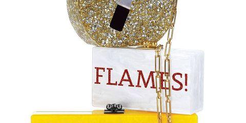 Yellow, Font, Costume accessory, High heels, Glitter, Label, Headpiece,