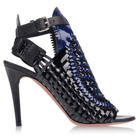 High heels, Sandal, Basic pump, Electric blue, Foot, Beige, Strap, Leather, Fashion design, Court shoe,