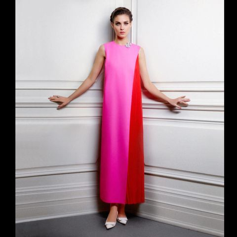 Sleeve, Shoulder, Dress, Standing, Joint, One-piece garment, Magenta, Pink, Style, Formal wear,
